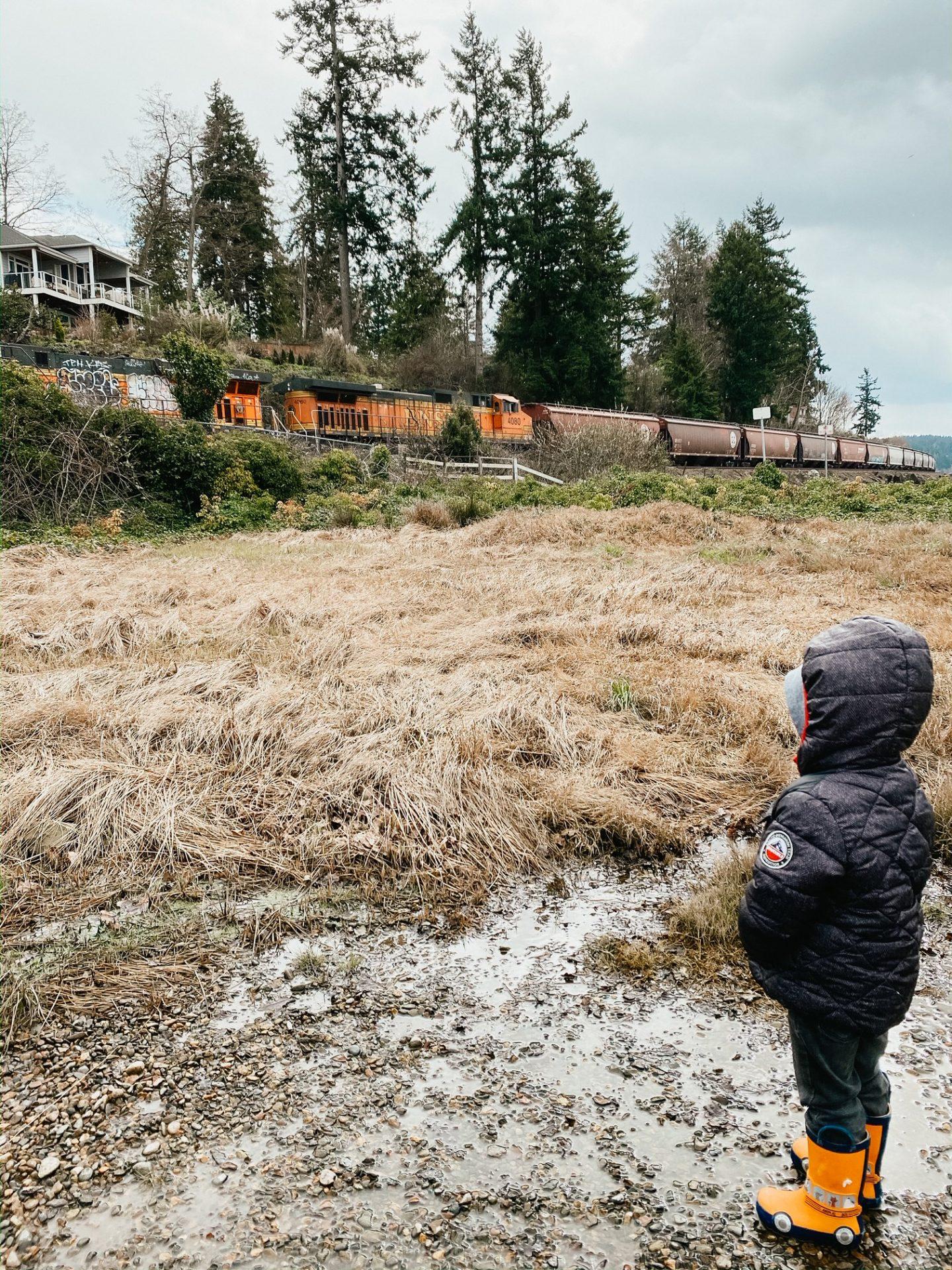 watching trains in steilacoom