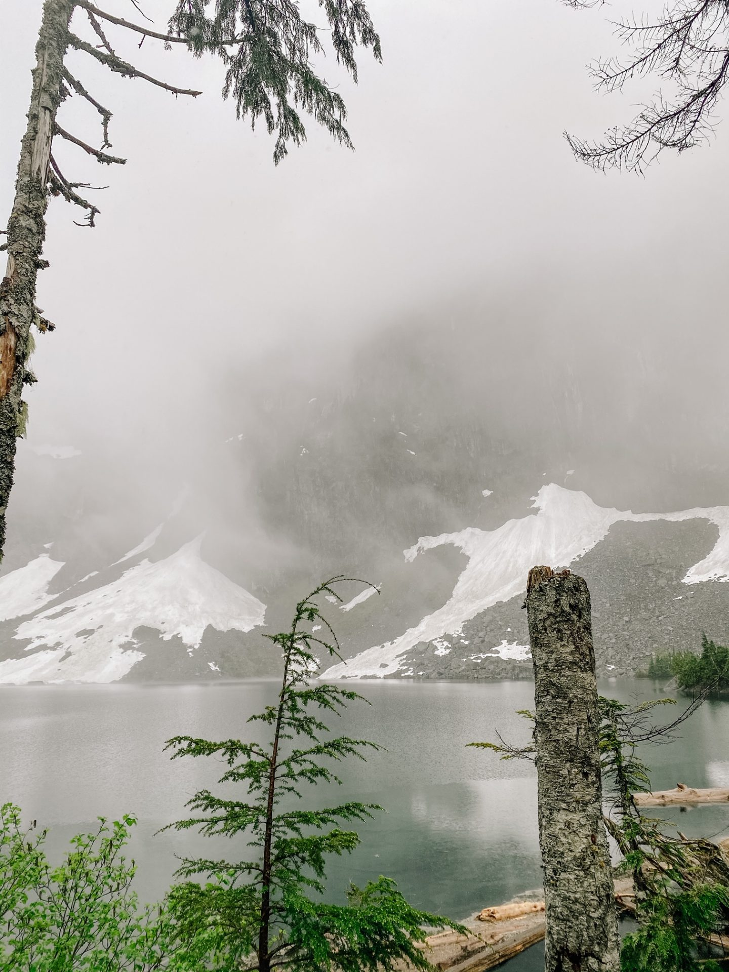 lake serene snow