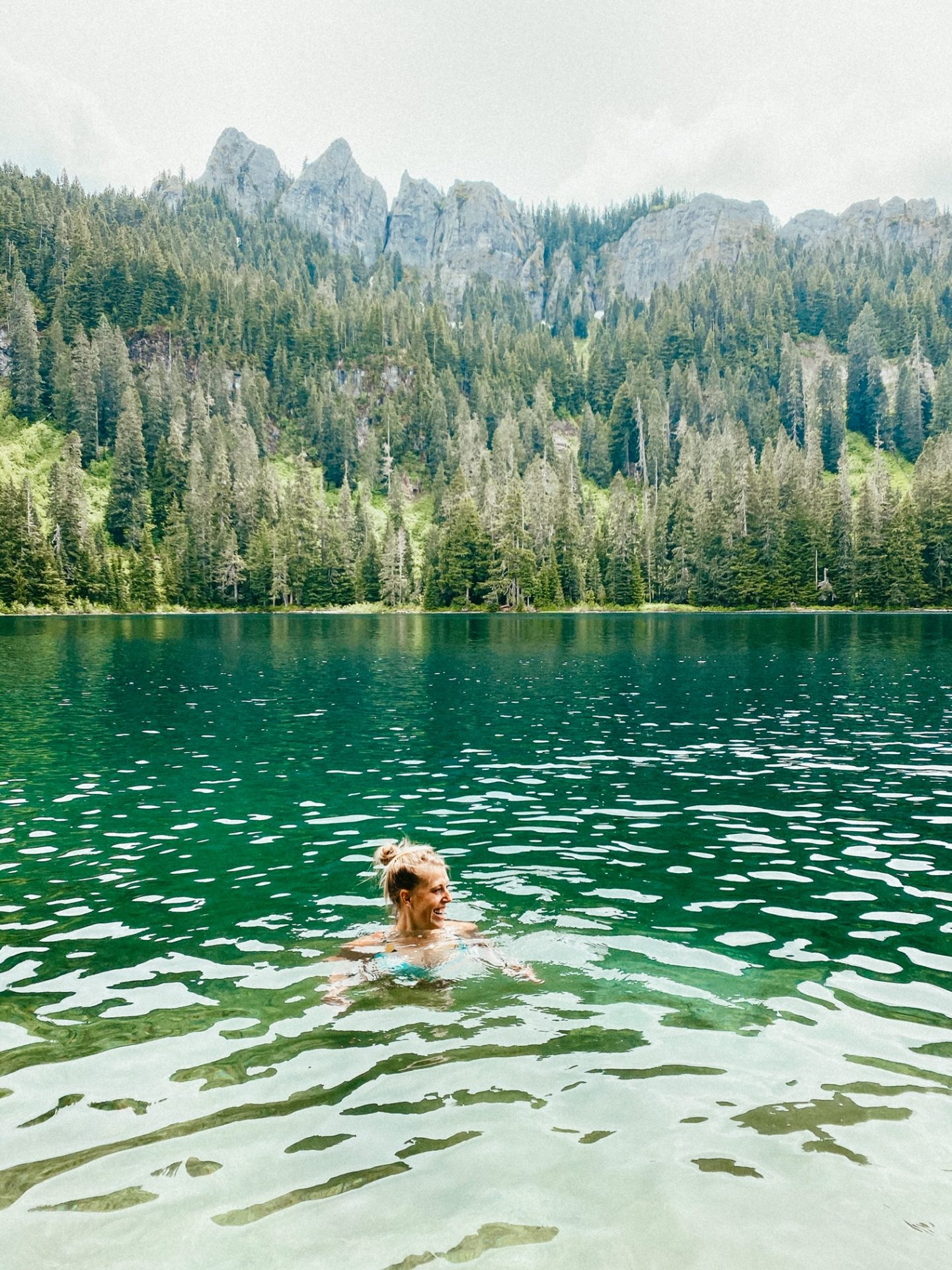 swimming granite lake