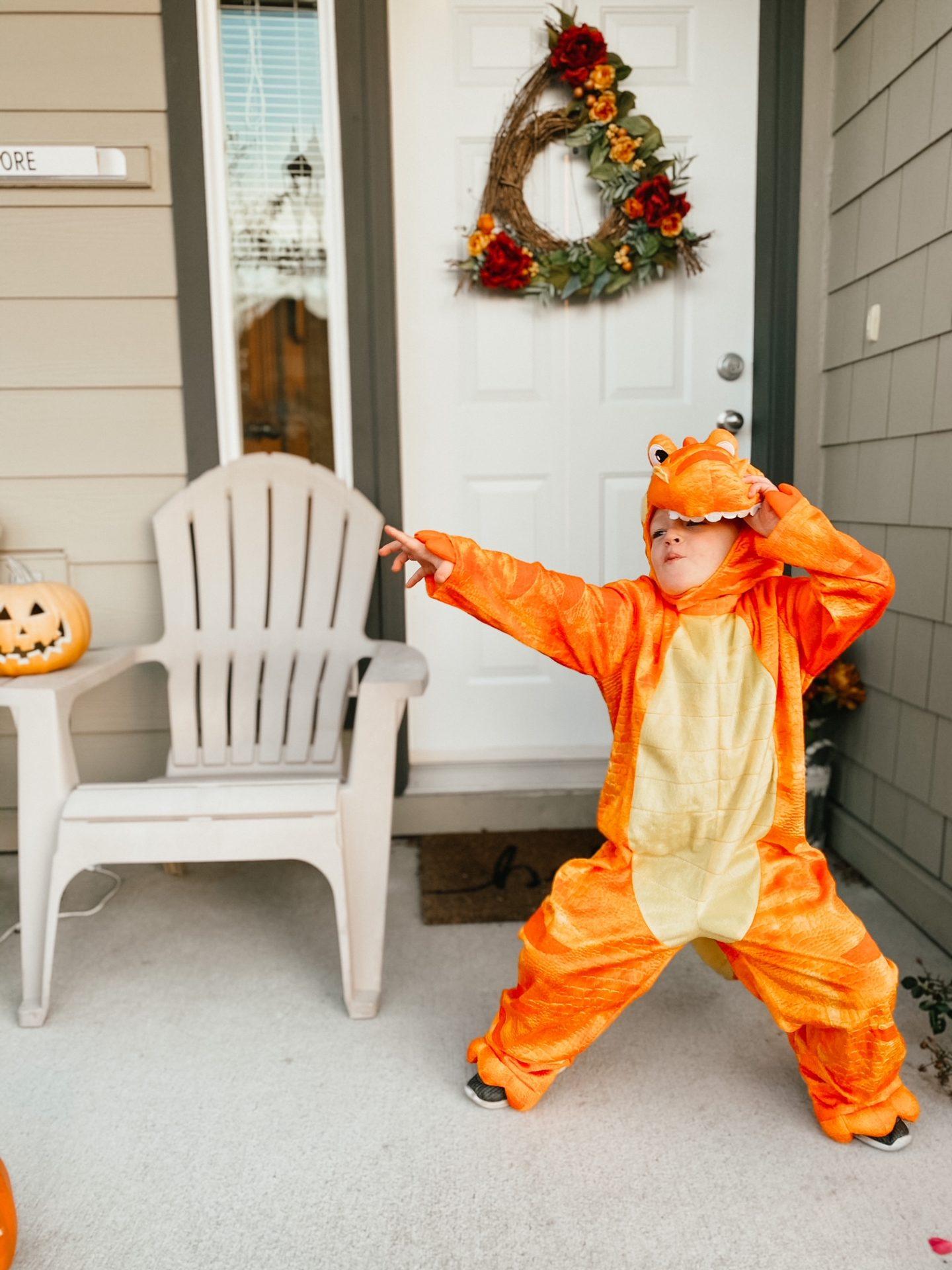 orange dinosaur costume