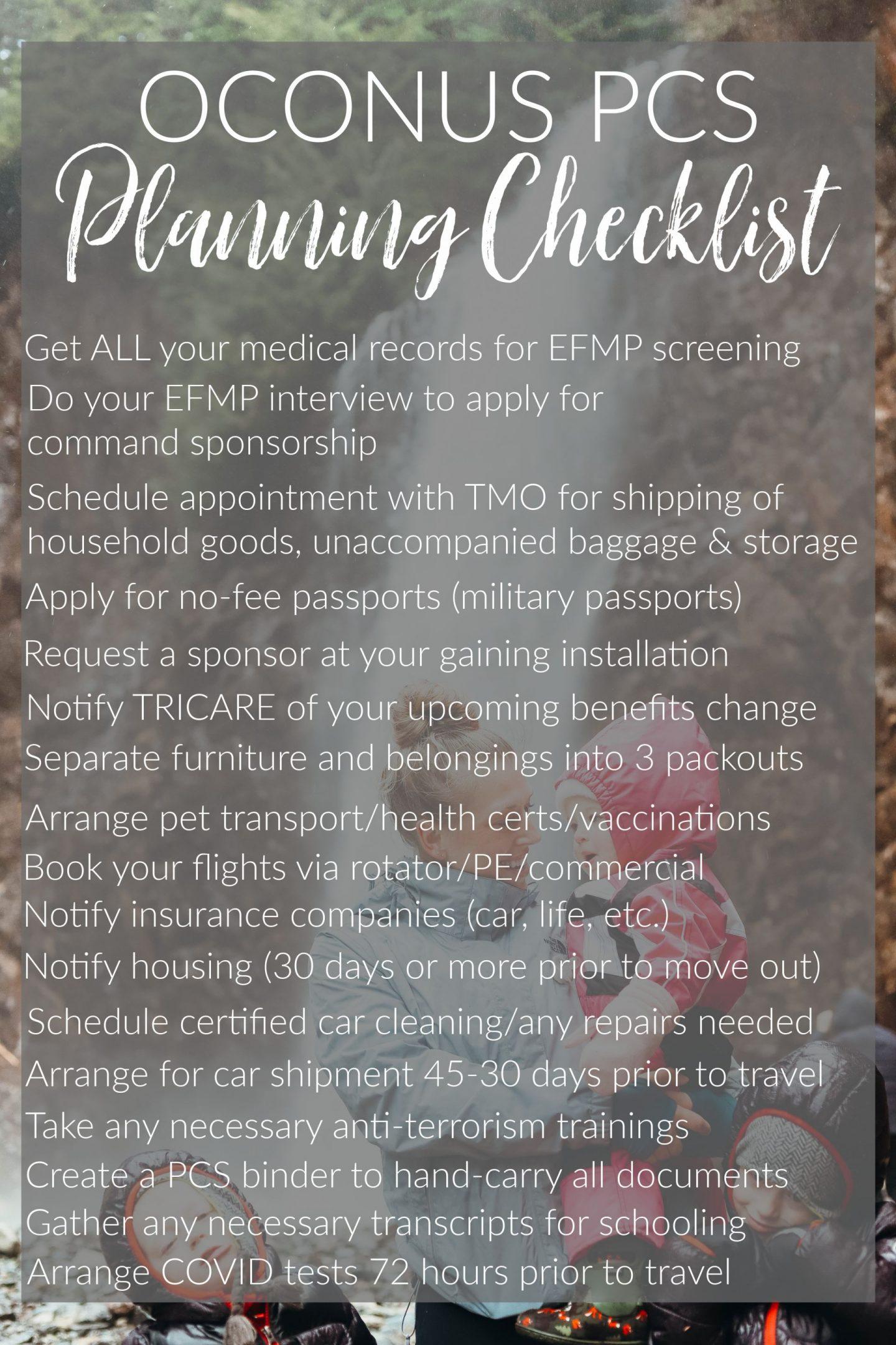 oconus pcs checklist